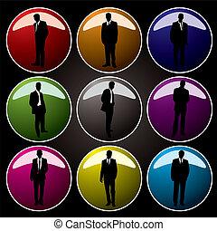 Botones de oficina coloreados