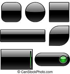 Botones de plástico en blanco