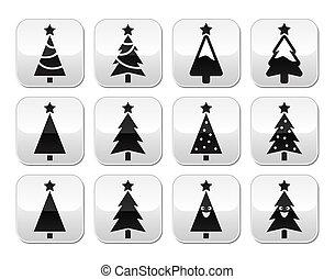 Botones de vector de árboles de Navidad listos