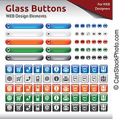 Botones de vidrio, elementos de diseño de WEB