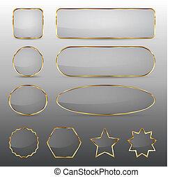 Botones de vidrio en blanco con marco de oro