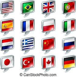 botones, discurso, bandera, burbuja, iconos