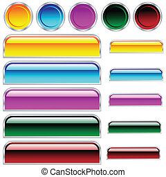 Botones, escamas y redondo rectángulos y círculos en diferentes colores