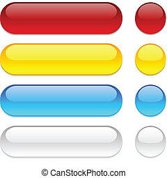 botones, fondo., blanco, redondeado