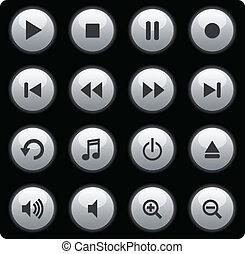 Botones plateados