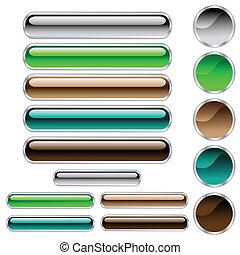 Botones, rectángulos redondos y círculos en colores variados