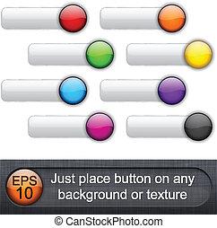 Botones redondeados y brillantes.