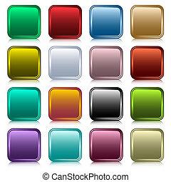 botones, tela, cuadrado, conjunto