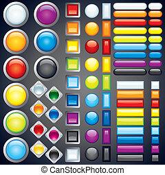 botones, tela, imagen, iconos, colección, vector, barras.