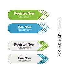 Botones web especiales, registro, descarga, con carteles de anuncios