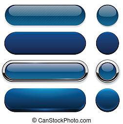 Botones web modernos de alto nivel de azul oscuro.