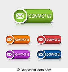 Botones web rectangulares de color nos contactan