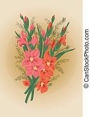 Bouquet de gladiolos rojos y rosas