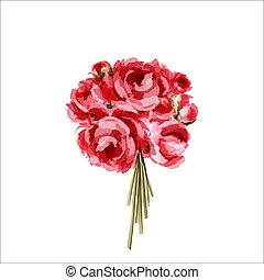 Bouquet de peonías rojas y rosas