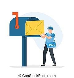 box., correo, puesto, hombro, cartero, hombre, carta, bolsa