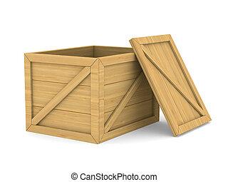 box., de madera, imagen, aislado, vacío, 3d