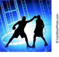 Boxeando en el fondo de la película