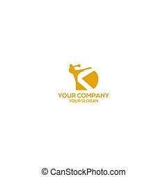 boxeo, diseño, patada, vector, logotipo, dk