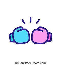 boxeo, icono, guantes, patada, contorno, vector, ilustración
