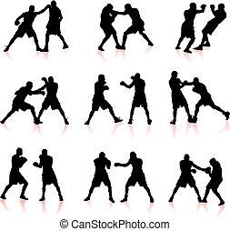 boxeo, silueta, colección, plano de fondo
