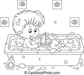 Boy bañándose