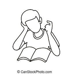 boy., book., lectura, contorno, abierto, escuela, hombre, tenencia, concepto, espalda, niño
