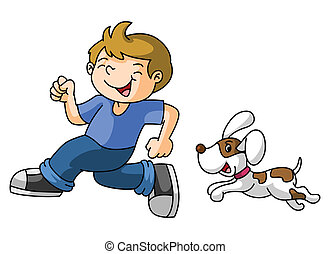 Boy jugar con el perro