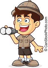 Boy Scout con binoculares