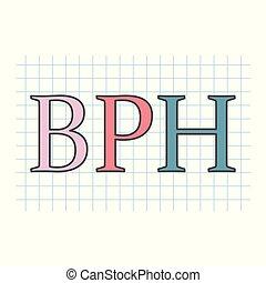 BPH (Benign Prostatic Hyperplasia) escrito en hoja de papel a cuadros