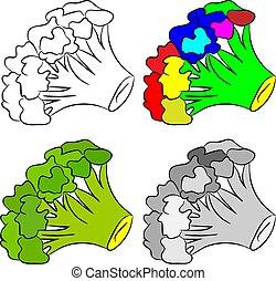 Brócoli en fondo blanco. Ilustración de vectores.