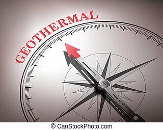 brújula abstracta con aguja apuntando la palabra geotérmica