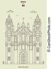 braga, congregados, señal, basílica, portugal., icono