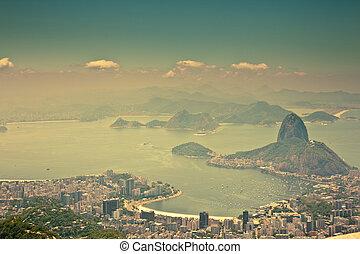 brasil, ciudad, janeiro, vistas, de, corcovado, río