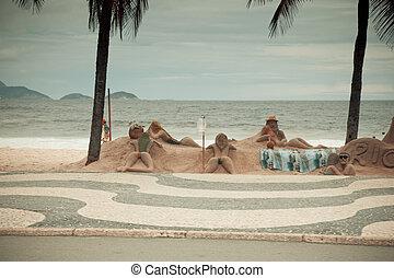 brasil, copacabana, esculturas, janeiro, de, río, playa