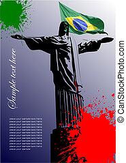 brasil, imagen, cubierta, bandera, brasileño, folleto