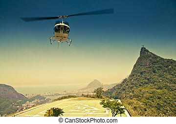 brasil, janeiro, de, aire, río, frente, helicóptero, corcovado