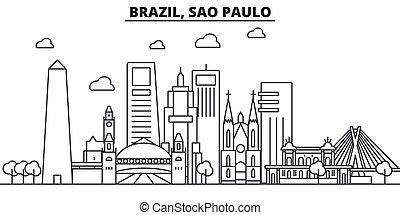 Brasil, la línea de arquitectura de Sao Paulo en el horizonte ilustración. Vector lineal Cityscape con puntos de referencia famosos, vistas de la ciudad, iconos de diseño. Landscape wtih derrames editables