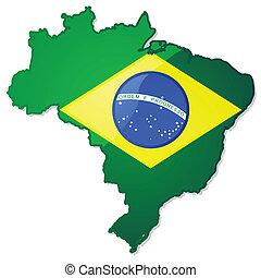 brasil, mapa, bandera