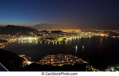 brasil, montaña, barra, janeiro, vistas, de, azúcar, río, noche