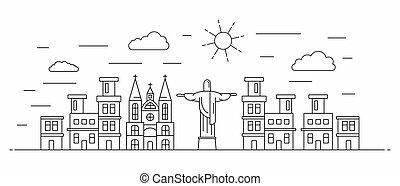 Brasil panorama, estilo línea