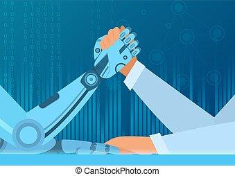 brazo, concept., vector, humano, hombre, contra, inteligencia, robot., lucha, artificial, ilustración, lucha