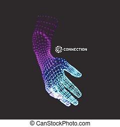 Brazo humano. Modelo de manos. Piel cubierta 3D. Ilustración de vectores.