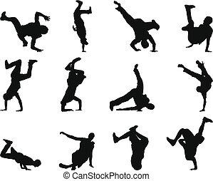 break-dance, conjunto, silueta