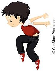 breakdance, solamente, niño