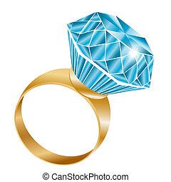 Brillante anillo de diamantes, vector
