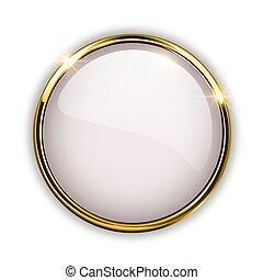 brillante, botón, 3d, oro