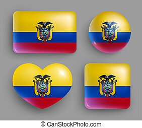 brillante, botones, país, ecuador, conjunto, bandera