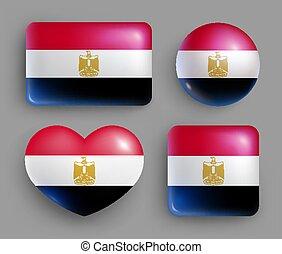 brillante, botones, país, egipto, conjunto, bandera
