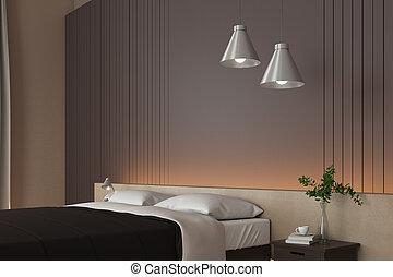brillante, cama, dormitorio