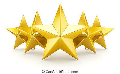 brillante, -, cinco, estrella, dorado, estrellas, clasificación